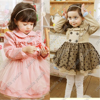 Wholesale Fashion children girl s long sleeve with lace design dust coat dress yarn of lace Dresses NVTONGR028