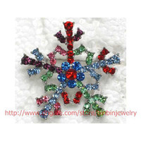 christmas pins - C543 Multicolour Multiple color Choice Crystal Rhinestone Snowflake Brooches Fashion Costume Pin Brooch Christmas gift jewelry