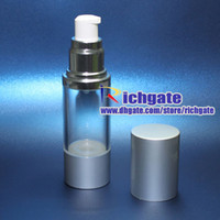 Wholesale empty cosmetic airless pump serum lotion bottles ml transparent plastic makeup containers