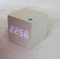 Wholesale 10pcs Mini Digital White LED Wooden Wood Desktop Alarm Clock