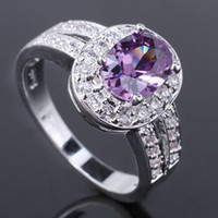 Wholesale Women Oval Base Clear Cz Rounded Purple Amethyst Gemstone Silver Ring Yin J7961 Size