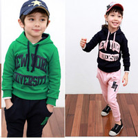 Wholesale Children s Fall cute boy and girl letter patterns track suit set dandys