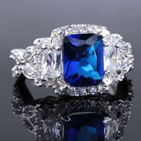 Wholesale Cute Fashion Cocktail Silver Ring Nice Carved X9 Blue Sapphire Yin J7916 Size