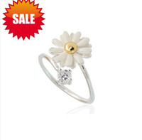 Wholesale Fashion Silver Tone Daisy Crystal Open Ring Retro Exquisite Alloy Little Daisy silver plated Rings