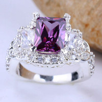 Women's amethyst diamond band - Pieces Band X9 Purple Amethyst Imitation Small Diamond Silver Ring Yin J7910 Size