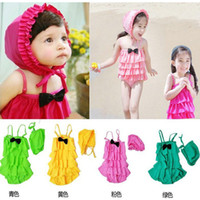 Wholesale 2 piece Girls swimwear Cap Girl Swim suit Girls beachwear bathing suit Children swimwear YY20701F