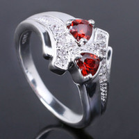 Wholesale 5X5 Double Hearts Red Garnet Silver Wedding Rings for Women Birthday Gift Multiple Sizes Colors for Choice R014