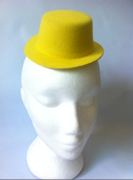 Wholesale 12 color cm Felt fascinator tiny top hat without clip Assorted Colors Mini Party Hats