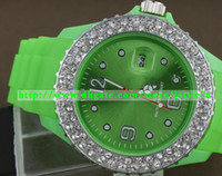 battery for drill - 2014 Fashion Calendar watches Double row of drilling watch diamond Silicone Candy color for WEATH