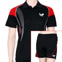 Wholesale New men s butterfly table tennis sportswear shirt shorts ping pong shirt B1112