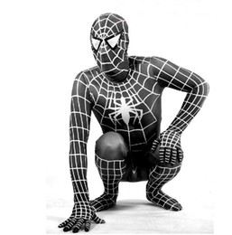 Wholesale 2012 NEW hot Halloween Lycra Spandex Spiderman zentai unitard Costume S XXXL black