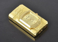 Wholesale beautiful Windproof Cigarette Lighter Golden Watch with LED Light