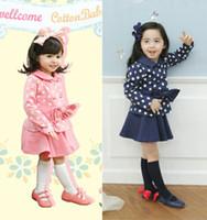Wholesale Children cute autumn girl dot bow blouse skirt piece suit set dandys
