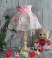 Wholesale Flowers Fabric Lamp Shades For Acrylic Table Lamps With Dimmer Pink