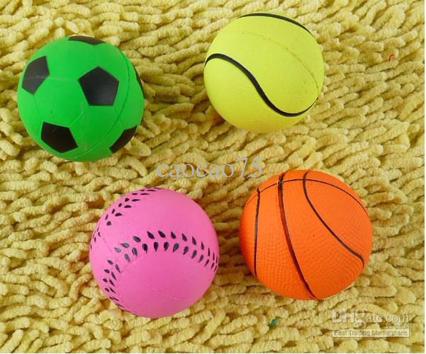 Rubber Ball Dog Toy : Fluorescent pet elastic balls dog cat toys
