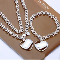 Wholesale Fashion selling fine jewelry sterling silver semi solid bracelet Necklace Set set