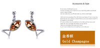 ear pin - New champagne silver color fish earbob ear pendant crystal young girl earring ear studs ear pin