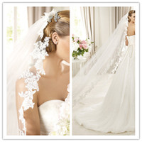 Wholesale Summer T White WEDDING VEIL CATHEDRAL Train THICK Applique MANTILLA Bridal Accessories m Hot
