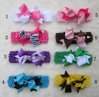 Wholesale Children s double color bowknot hair band bow crochet headbands headband baby ribbon Mixed color