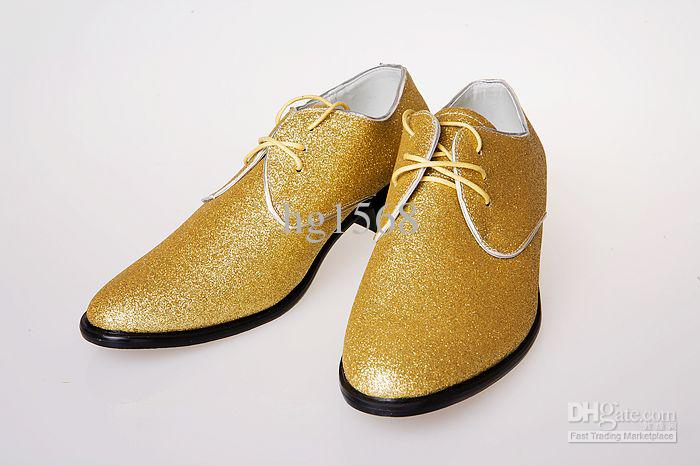 Mens Gold Shoes Wedding Gold Leather Lace Shoes Men's