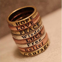 Wholesale Retro Lettering Wishing Ring Fashion Sample Ring Jewelry Gifts