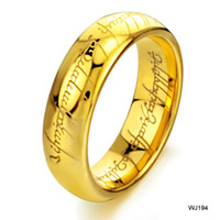 Wholesale HOT SELLING CLASSICAL SPECIAL DESIGN GOLD PLATED TUNGSTEN RINGS FOR MALE ENGRAVED WORDS SHIPPING