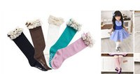 Wholesale Baby girl socks kids Stockings classic knee BOOT high socks with lace solid color cotton