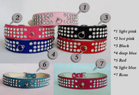 Wholesale New suede Leather Dog Collars Rows Rhinestone Dog collar diamante Cute Pet Collars Quality