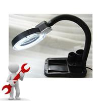 Wholesale 5X X Desktop Adjustable Magnifier Metal Hose W LED light Extra Tube for free