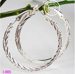 Wholesale 40mm pairs Big Circle Earrings Sterling Silver Polished Earring Hoops Earrings B Free Shippin