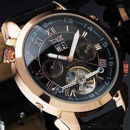hot men leather watch golden number mechanical dive mens date automatic watches luxury sport jaragar