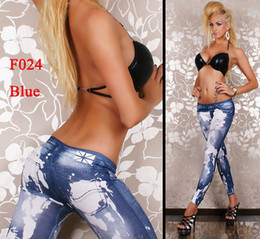 Wholesale Hot Sale F024 Women Punk Style Graffiti Strechy Jeans Leggings Pants Free DHL