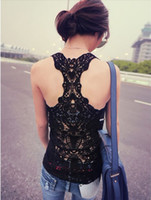 Wholesale new back openwork crochet lace sexy vest halter top base vest