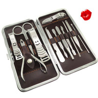 Wholesale 12 in Luxury Manicure Set Grooming Kit Nail Clipper with Leather Case for Men Lady Girl set