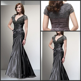 Wholesale 2014 New Style V neck Mother Of Groom Dresses Short Lace Sleeve Sexy Mermaid Mother Of Bride Gown