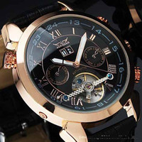 Wholesale jaragar men automatic mechanical tourbillion leather watch sport dive stainless mens gold wristwatch