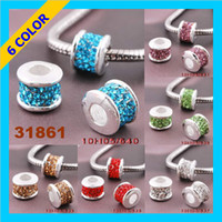 Wholesale 60pcs Crystal Rhinestones Loose Beads Mix Color Alloy European Beads Sliver Plated Hole mm