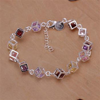 Wholesale best quality gift Beautiful hot Silver fashion jewelry charm new Colors luxury crystal bracelet