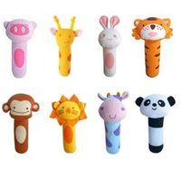 Wholesale 10pcs BIBI Rattles lovely animal hand grasp stick plush finger puppets babies toy style cm