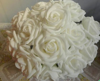 Wholesale WHITE Dia cm Artificial Simulation PE Foam EVA Camellia Rose Wedding Christmas Bridal Flower