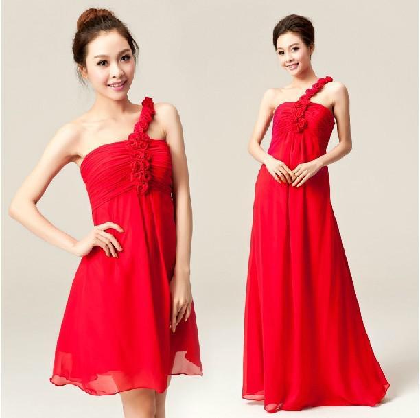 Wedding dress short bridesmaid dress skirt evening dress in red color