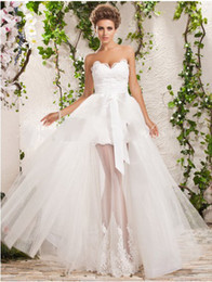 Wholesale 2012 Two In One A line Princess Sweetheart Lace Bow Floor length Tulle Wedding Dress