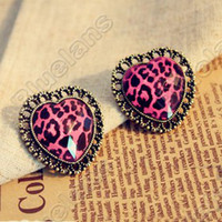 Wholesale Retro Vintage Love Pink Leopard Lace Gem Fashion Earrings E2040