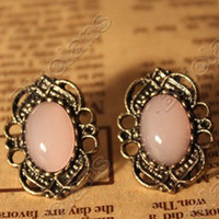 Wholesale Vintage Lace Inlaid Gemstone Stud Earrings Fashion Earring E0037
