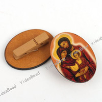 Wholesale 45 Fashion Wooden Jewerly Clamp Basement Face Oval Christianity Pattern Charms Ring Face