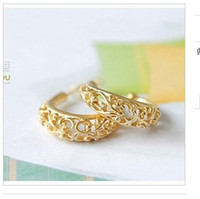 Wholesale Earrings fashion elegant rings hollow out silver gold B