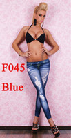 jeans wholesale price - Cheaper price Leggings Pants Destoryed Jeans Look Black F045 Free DHL