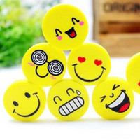 Wholesale Promotion Pieces New Novelty Smile Shape Eraser Funny Yellow Face Eraser