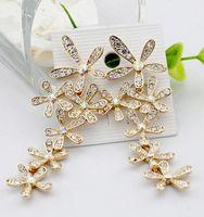Wholesale Fashion Gold Silver Crystal Snowflake Falling Earrings Chandlier Drop Earrings Silver Women Jewelry JF3