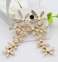 Wholesale Fashion Gold Silver Crystal Snowflake Falling Earrings Chandlier Drop Earrings JF3